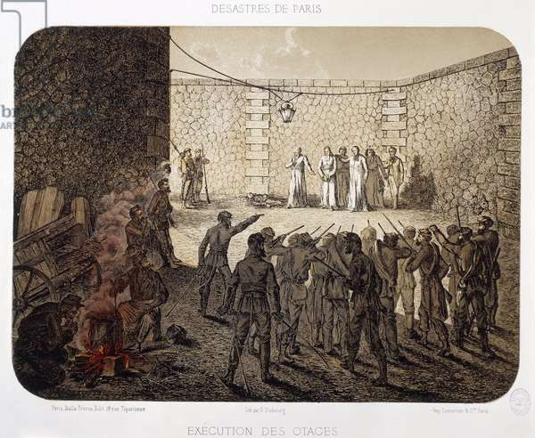 France, Paris, Insurgents Execute Hostages at La Roquette prison on May 24 1871