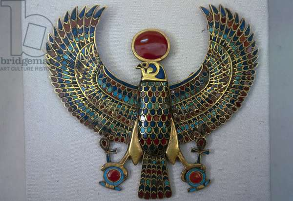 Cloisonne breastplate of God Horus, from Tomb of Tutankhamun, Egyptian civilization, 18th Dynasty