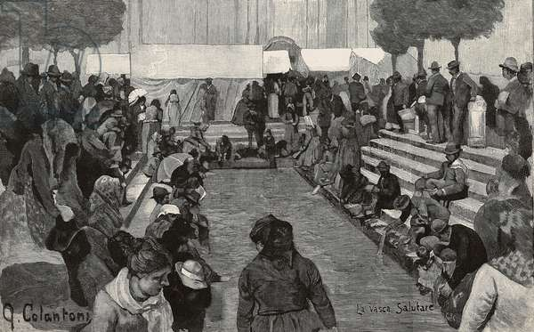 Invalids at fountain, Caravaggio Sanctuary, Italy, engraving from drawing by G Colantoni, from L'Illustrazione Italiana, year 18, no 38, September 20, 1891