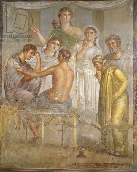 Roman civilization. Admetus and Alcestis, fresco from the Basilica of Ercolano
