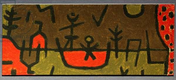 Pond in park, 1938 (coloured paste on cardboard)