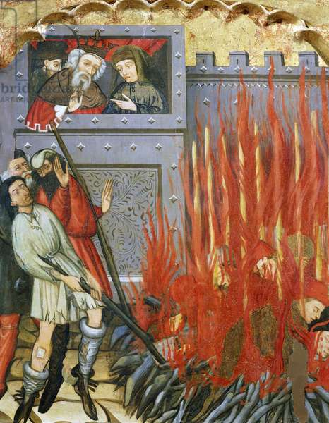 Followers of St Catherine of Alexandria being burned alive before the king, painted by the Master of Glorieta (active from 1425 to approximately 1440), from Mas De Bondia (Urgell). Catalan Gothic Art.