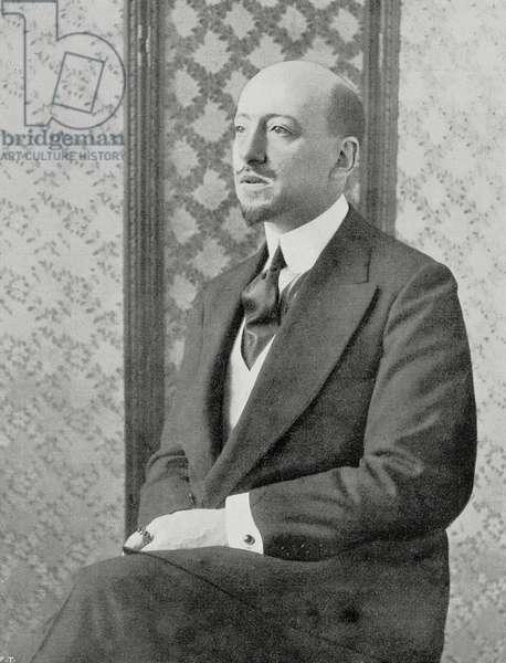 Portrait of Gabriele d'Annunzio (1863-1938), Italian writer and patriot, photo by H Manuel, from L'Illustrazione Italiana, Year XXXVII, No 31, July 31, 1910