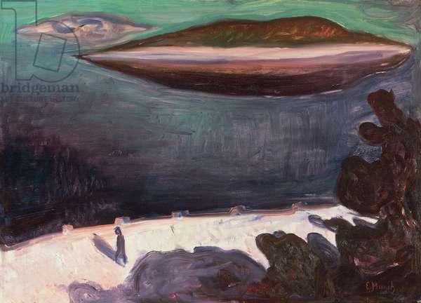 Summer night on the Oslofjord, 1900, by Edvard Munch (1863-1944), oil on canvas, 71x100 cm. Belgium, 20th century.