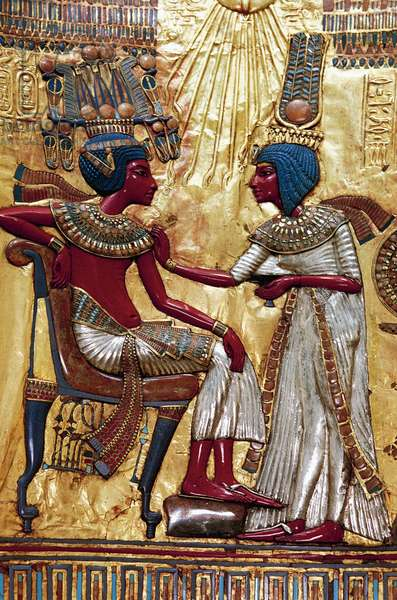 Rear panel of royal throne of Tutankhamun depicting Ankhesenamen with out stretched arms preparing to anoint pharaoh, wood, gold leaf, silver, glass gems and precious stones, from Pharaoh's tomb, Thebes, Egypt, Egyptian civilization, Dynasty XVIII
