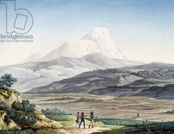 Vulcano Cayambe in region of Quito, Ecuador, engraving from Views of Andes and monuments of indigenous peoples of America, by Alexander von Humboldt (1769-1859) and Aime Bonpland (1773-1858), 1810, Paris, South America, 19th century