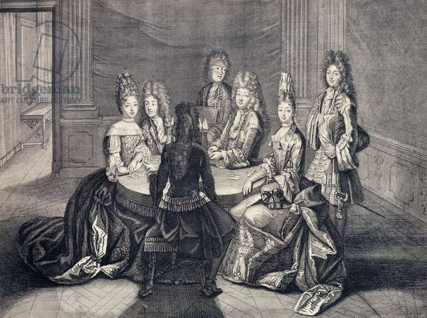 Playing cards in apartments of Louis XIV with Maria Anna of Bourbon-Conti, Grand Dauphin Louis, Julius Henry III of Bourbon-Conde, Anna of Bavaria and Louis Joseph de Bourbon-Vendom, by Antoine Trouvain (1656-1708), engraving, France, 1694