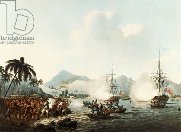 Death of Captain James Cook, who was murdered in 1779 by natives on Sandwich Islands, now Hawaii, engraving from account of last voyage of James Cook (1728-1779), undertaken between 1776 and 1779, Polynesia, 18th century