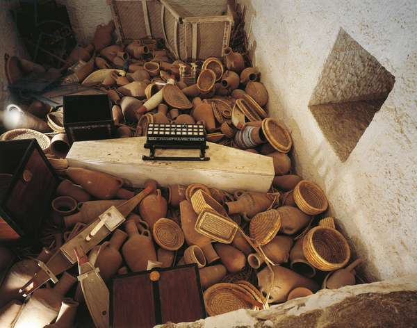Replica of hiding-place beside sarcophagus chamber with pottery and baskets, from King Tutankhamen's tomb