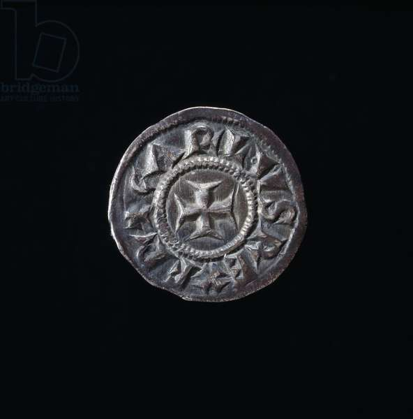 Denarius of Charlemagne minted in Milan, Imperial Coin, recto, 768-814 (silver coin)