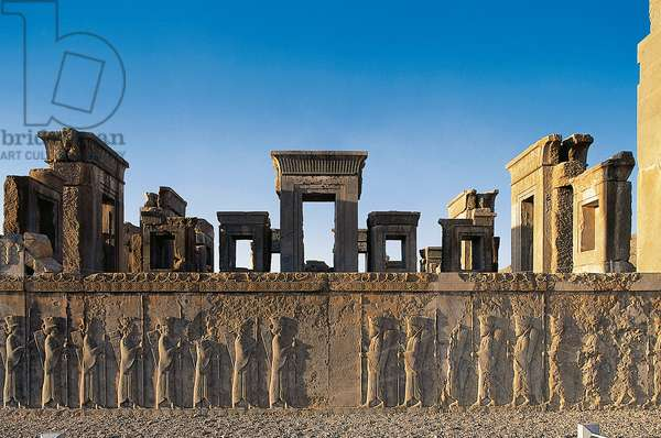 Bas-relief of Persian guards, west staircase, Palace of Darius (Tachara), Persepolis (UNESCO World Heritage List, 1979), Iran, Achaemenid civilization, 6th-5th century BC
