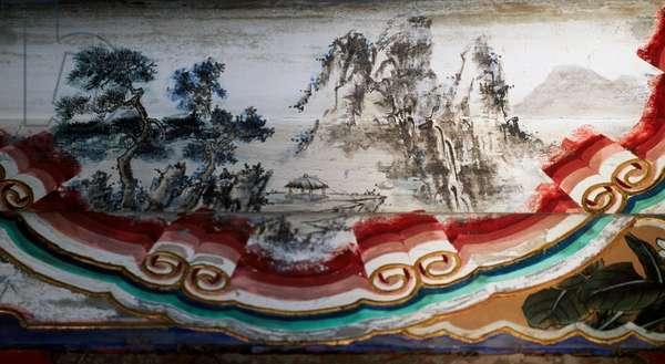 Painting of trees and pagoda, Summer Palace (UNESCO World Heritage List, 1998), Longevity Hill, Beijing (Beijing), China, 18th century