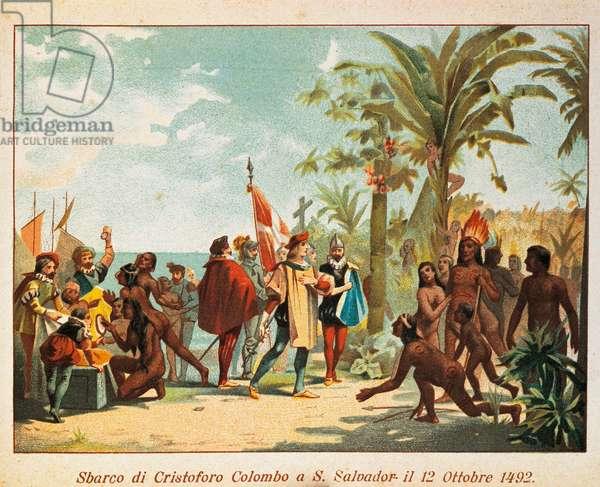 Landing of Christopher Columbus at San Salvador, on October 12, 1492, 19th-century illustration