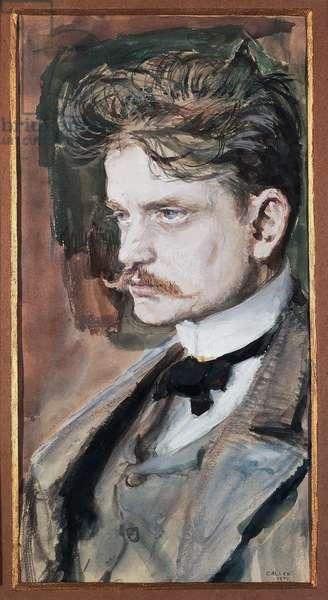 Portrait of Johan Christian Julius Sibelius, known as Jean Sibelius (Hameenlinna, 1865-Jarvenpaa, 1957), Finnish composer and violinist, painting by Akseli Gallen-Kallela (1865-1931)