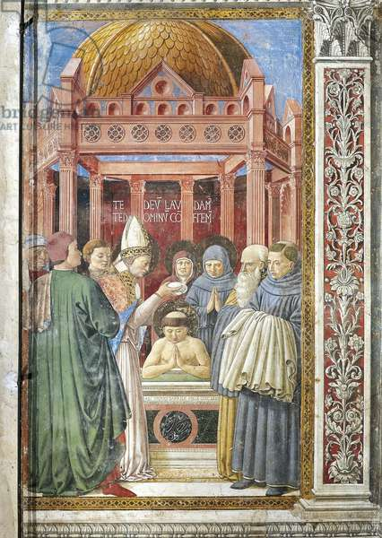 Baptism of St. Augustine, detail from Stories of St. Augustine, 1465, by Benozzo Gozzoli (1420-1497), fresco, Church of St. Augustine, San Gimignano, Siena, Italy