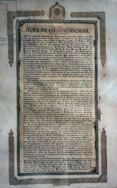 Ecuador's Declaration of Independence, October 9, 1820, 19th century