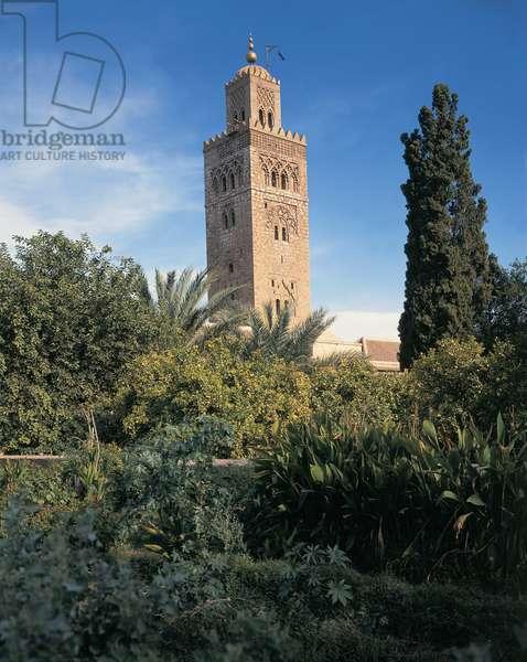 Low angle view of a minaret, Kutubiyya Mosque, Marrakesh, Morocco