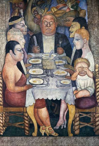 The capitalist's dinner, by Diego Rivera (1886-1957), detail from the Ministry of Education frescoes (1923-1928), Mexico City. Mexico, 20th century.