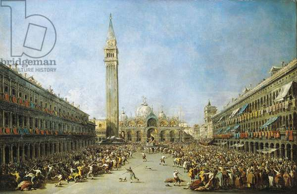 Doge of Venice brought by gondoliers to St Mark's Square after election, circa 1770, by Francesco Guardi (1712-1793), oil on canvas
