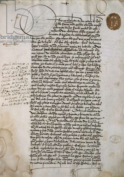 The first sheet of the Codex of Privileges of Christopher Columbus, April 23, 1497, 15th century