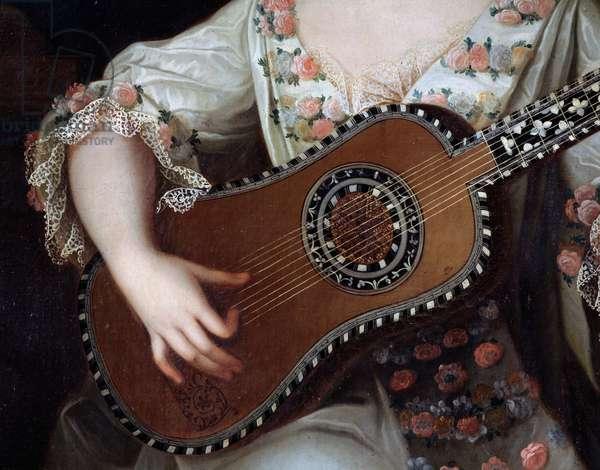 Guitar, detail of the portrait of Mademoiselle de Charolais (1695-1758), painting by Pierre Gobert (1662-1744). France, 18th century
