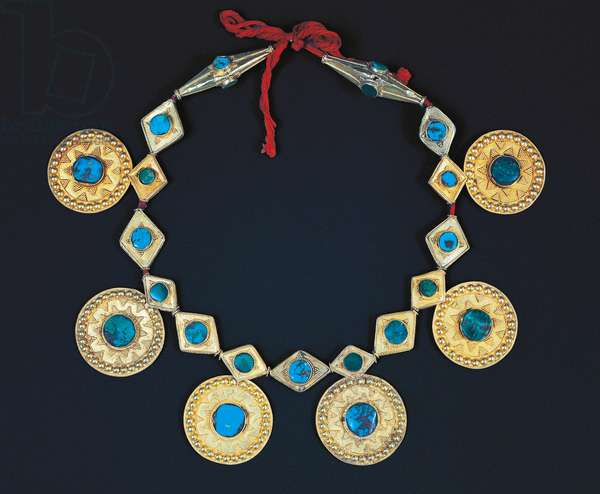 Gold and turquoise women's necklace, Saudi Arabia