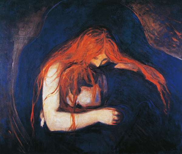 Vampire, 1893-1894, by Edvard Munch (1863-1944), oil on canvas, 91x109 cm. Norway, 19th century.