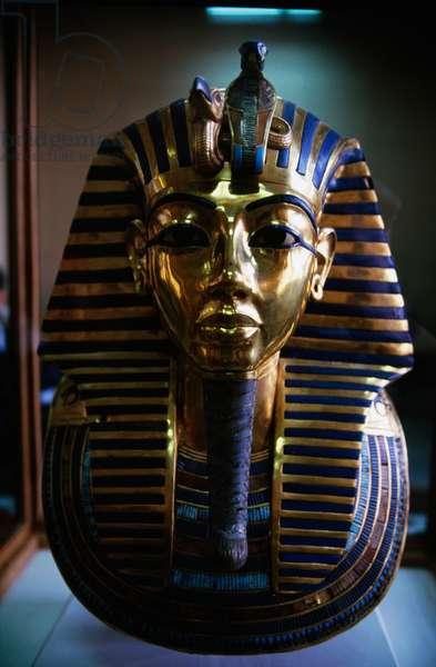 Funerary mask of Tutankhamun, beaten gold, ceramic and semi-precious stones, from Tombs of Pharaohs, Egypt, New Kingdom, Dynasty XVIII