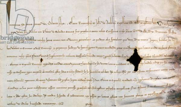 The stamp with which Pope Innocent IV approved the donations made by the Emperor William, King of the Romans, to Thomas of Savoy, manuscript, 1253.