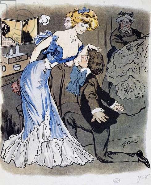 Les Demi-mondaines, poet Innamorato, caricature in 1908 (illustration)