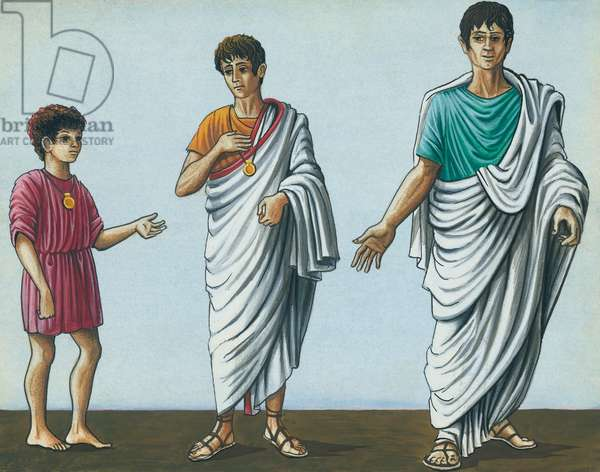 Roman clothes: child with short tunic, boy with praetexta, adult with toga, drawing, Roman civilization, 2nd-1st century BC