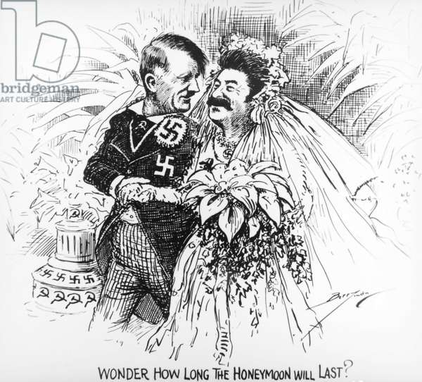 United Kingdom, Great Britain, Cartoon depicting Adolf Hitler and Joseph Stalin
