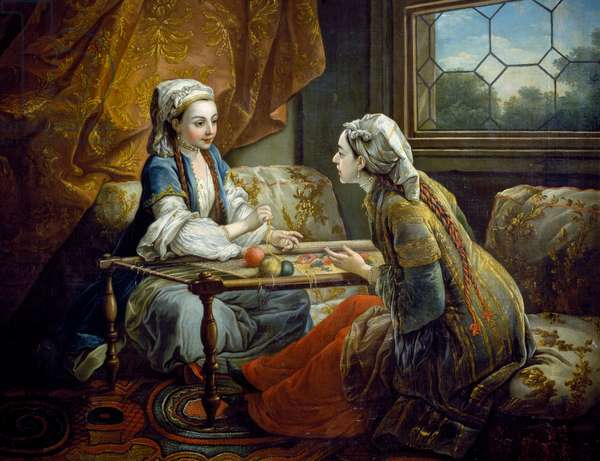 Two odalisques embroidering, 1754, copied from painting by Carle van Loo (1705-1765) for Madame Pompadour in Bellevue,