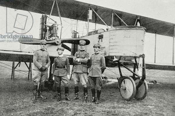 Gabriele D'Annunzio with Luigi Gori, Maurizio Pagliano and GB Pratesi, members of the raid on Pola in August 1917, World War I, from L'Illustrazione Italiana, Year XLIV, No 32, August 12, 1917