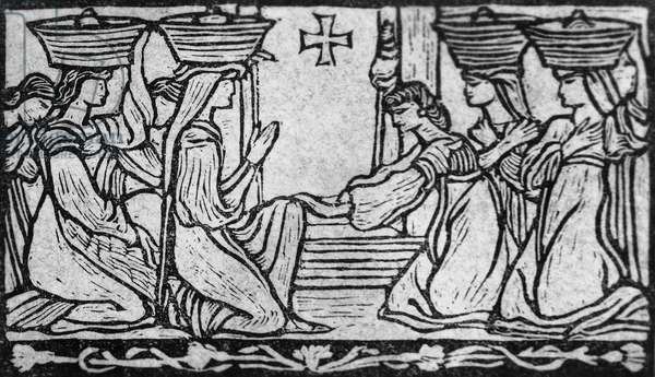 Illustration for Jorio's Daughter, pastoral tragedy by Gabriele d'Annunzio (1863-1938), woodcut by Adolfo De Carolis (1874-1928), published by Fratelli Treves, 1904, Milan