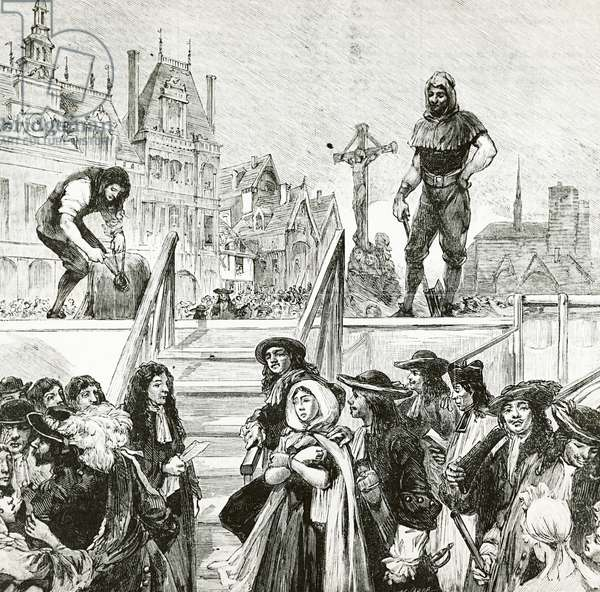 Affair of the Poisons, the beheading of Marie-Madeleine d'Aubray, Marquise de Brinvilliers (1630-1676), in Paris on the Place de Greve in 1676, engraving, 19th century, France