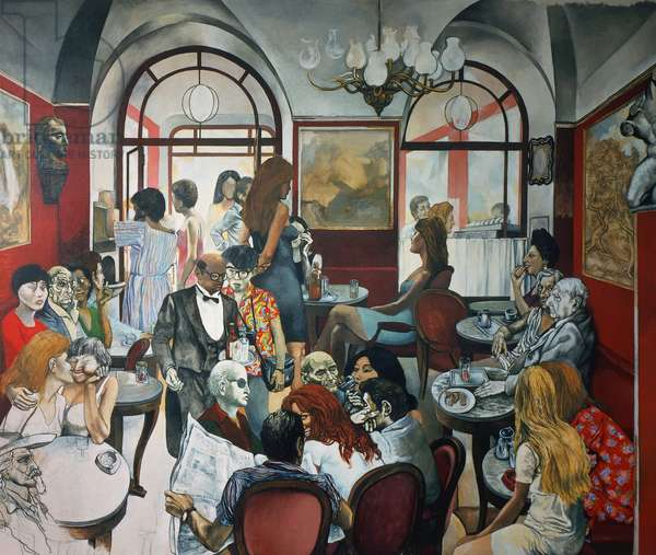 Caffe Greco, 1976, by Renato Guttuso (1911-1987), mixed media and collage on canvas-backed paper. Italy, 20th century.