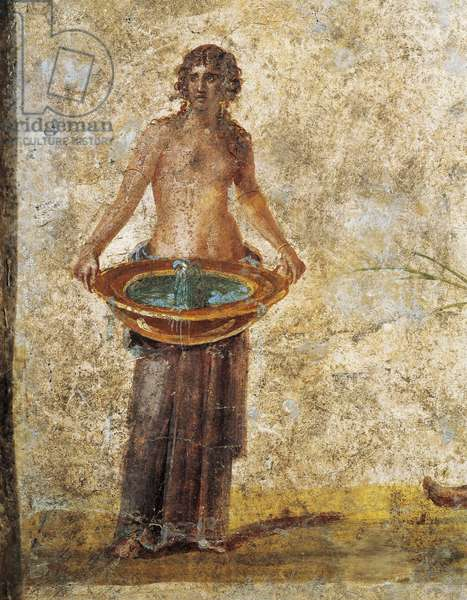 Woman carrying bucket of water, from Pompei, Fresco