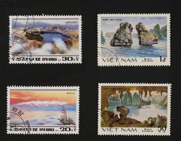 Postage stamps honoring Mountain landscapes of North Korea, 1992, depicting Chon volcanic lake and view of Mt Baiktou and series honoring Ha Long bay, Hon Ga Choi and Hang Bo Nau, North Korea and Vietnam, 20th century