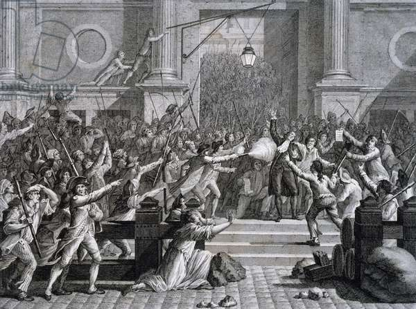 Assassination of Jacques de Flesselles Mayor of Paris in front of Hotel de Ville, July 14, 1789, Paris, France, engraving, French Revolution, 18th century