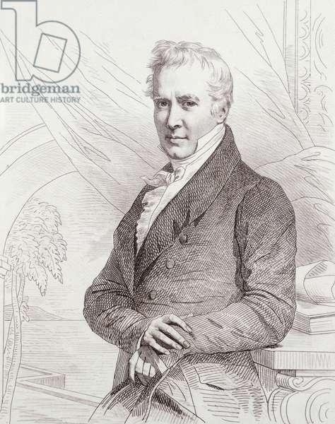 Portrait of Alexander von Humboldt (Berlin, 1769-1859), German naturalist, explorer and botanist. Engraving by Charles Bazin, 1853.