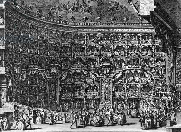 Interior of Teatro San Carlo in Naples decorated for a ball, 1749 engraving by Vincenzo Re (1695-1762), Italy, 18th century