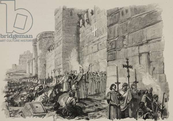 Pope Leo IV blessing the Leonine Wall, which he ordered built in Rome between 848 and 852, engraving from the Middle Ages, 1892, by Francesco Bertolini (1836-1909), with illustrations by Lodovico Pogliaghi (1857-1950)