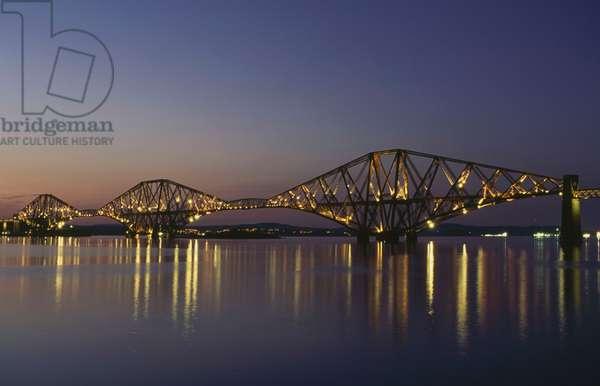 Night view of the Forth rail bridge, 1883-1890, Firth of Forth, Scotland, United Kingdom, 19th century