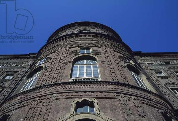 Facade overlooking courtyard, Palazzo Carignano, 1679-1685 (UNESCO World Heritage List, 1997), by Architect Guarino Guarini, Turin, Piedmont, Italy, 17th century Detail