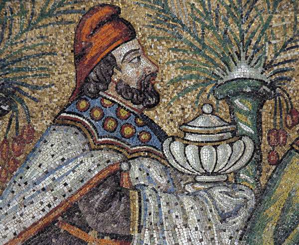 Baldassarre, detail from the Magi Kings being guided by a star, mosaic, north wall, lower level, Basilica of Sant'Apollinare Nuovo (UNESCO World Heritage List, 1996), Ravenna, Emilia-Romagna. Italy, 6th century.