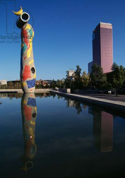 Dona i ocell (Woman and bird), sculpture by Joan Miro (1893-1983), Plaza Miro, Barcelona. Spain, 20th century.