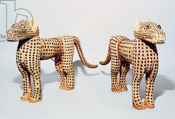 Pair of leopards, ivory with metal inlay, from Benin, 19th century