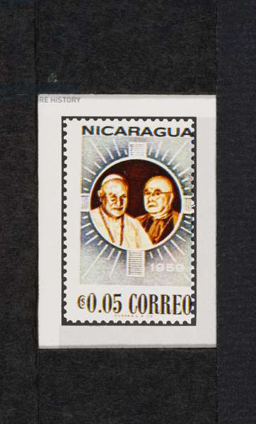 Postage stamp honoring Pope John XXIII and Cardinal Francis Spellman, 1959, image is off-centre with respect to indentation, Nicaragua, 20th century