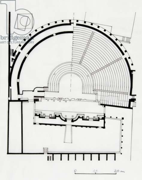Reconstruction of plan of Grand Theatre of Pompeii, drawing, Roman civilization